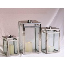 Rectangular shape stainless steel with glass lantern size-16""