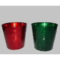 Red & Green Round 8 Inch Metal Planter
