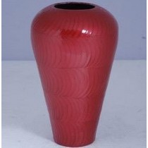 "11'' x 8'' x 5""Red Bottom Narrow Design Round Metal Flower Vase"