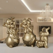 Resin Family Lucky Pig Mascot Festival Decor Home Decor (A)