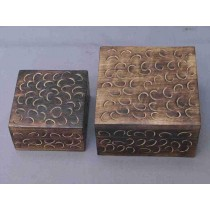 "5'' x 5"" Medium Rosewood  Square Curved Wood Box"