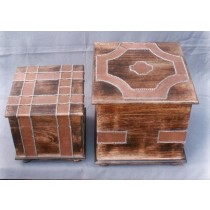 Small Rosewood Square Box With Peach Strips Work