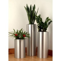 Round Silver Tall Planter Set of 3 Pcs
