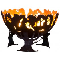 Rustic Style Fire Pit Bowl With Tree Trunk Base