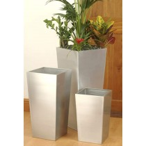 Set of 3 Glazed Silver Metal Planter