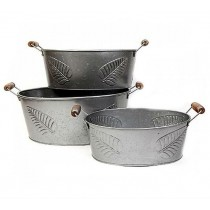 Set of 3 Leaf Design Metal Planter