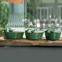Set Of 3 Pcs Green Bird Pattern Ceramic Pot