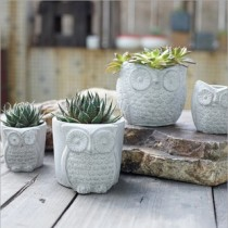 Set Of 4 Pcs Owl Design Ceramic Planter