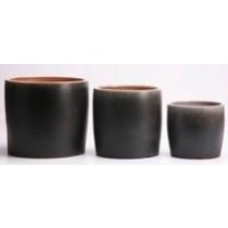 Shaded Black Ht 9.4'' Glazed Ceramic Pot