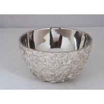 Round Decorative Shape Silver Metal Finish Bowl