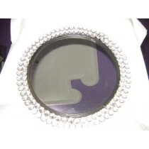 "Decorative Silver Metal Tray With Crystal Beads Design(10 x 10"")"
