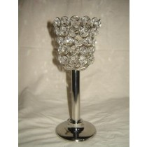 Silver Metal Bottom With Crystal Votive Tea light Candle Holder