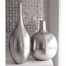 """New Modern Round Silver Metal Flower Vase(8'' x 7"""")"""