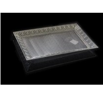 Silver Plated Rectangle Tray with net Design