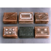 "4''x 6""Decorative Hand Curved Embossed Mango Wooden Box"