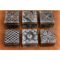 Natural Wooden Box Whitewashed With Metal Motif
