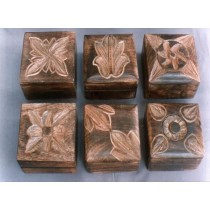 Six Different Hand Curved Design Square Mango Wooden Box