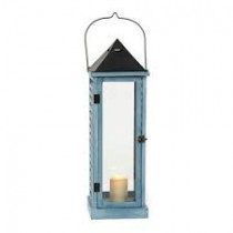 Sky Blue Wood and Metal Lantern