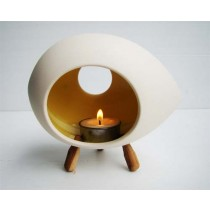 Small Ceramic Candle holder with 3 wooden legs- OVAL shape-RED/ORANGE