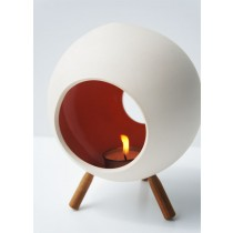 Small Ceramic Candle holder with 3 wooden legs- ROUND shape-RED/ORANGE