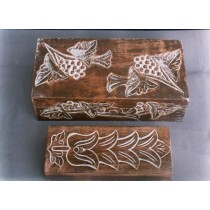 "6'' x 3"" Rectangle Wooden Box With White Floral Carving"