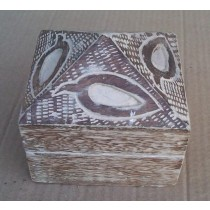 Small Square Wooden Box Whitewashed With Leaf Design