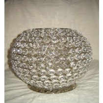 "Crystal Beads Candle Bowl With Silver Metal Wire Design(8 x 8"")"