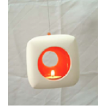 Square Ceramic Hanging Candle Holder - RED/ORANGE colour