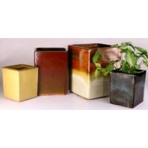 Black Square Shape Glazed Ceramic Planter