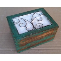 Square Wooden Box With Green-washed & Metal Design (8'' x 6'' x 4.5'')