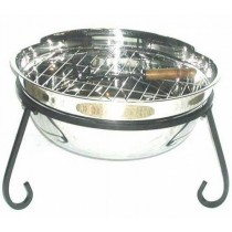 "24"" Medium Large Stainless Steel Bowl & Iron Stand Fire Pit"
