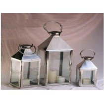stainless steel with glass lantern Size-12""