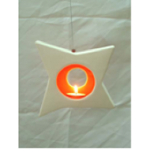 Sparkling Star Ceramic Hanging Candle Holder-RED/ORANGE colour