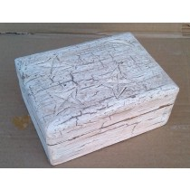 Square Wooden Box Whitewashed Star & Moon Design