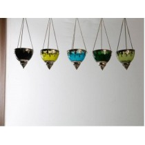 stunningly crafted design glass with metal hanging votive Size-4""