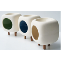 Square Ceramic Oil Burner with 3 Wooden Legs with colour glazed inside