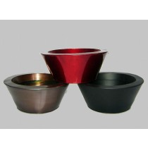 Round Bowl Shape Tapered Red & Black Metal Planter