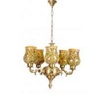 Traditional 5 Light Brass And Glass Chandelier