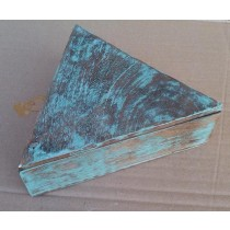 Triangle Brown Wooden Box With Blue-washed