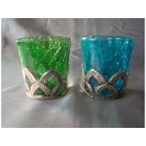 turquoise glass with metal votive Size-3 X 2.5