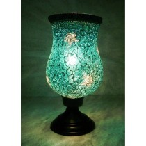 Turquoise Sparkling Crystal Hurricane Candle Holder
