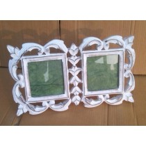 "4'' x 4""Two Piece Decorative Vintage White Photo Frame"