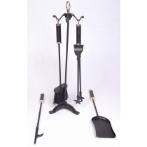 "Iron/ Brass  Powder Coated/ Shiny Finish Fire Tools Set Of 5 Pcs, size 26"" height"