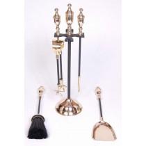 "Iron/ Brass  Powder Coated/ Shiny Finish Fire Tools Set Of 5 Pcs, size 19"" height"