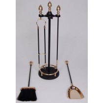 "Iron/ Brass  Powder Coated/ Shiny Finish Fire Tools Set Of 5 Pcs size 24"" height"