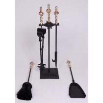 """Iron/ Brass  Powder Coated/ Shiny Finish Fire Tools Set Of 5 Pcs, size 19"""""""