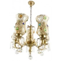 Unique Brass And Crystal 5 Light Chandelier