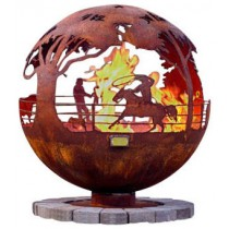 Unique Sphere Steel Fire Pit With Flat Steel Base