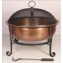 Vintage Copper Fire Pit With Decorative Legs