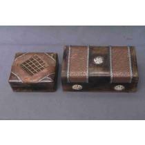 """Medium Walnut Brown Copper Metallic Lase Wood Box(4''x 6"""")"""